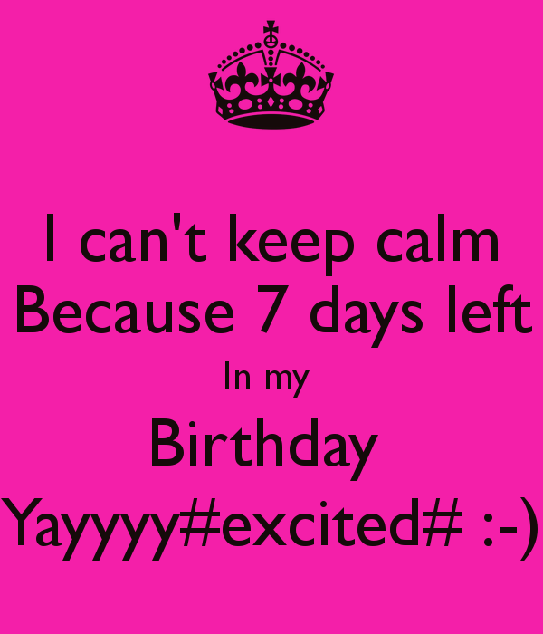 Image Result For 7 Days For My Birthday In Pink Birthday Countdown