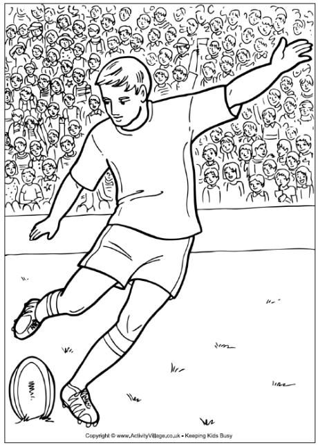 Rugby Player Colouring Page Rugby Players Rugby Drawing Colouring Pages