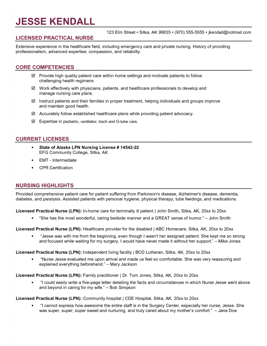 lpn student resume examples