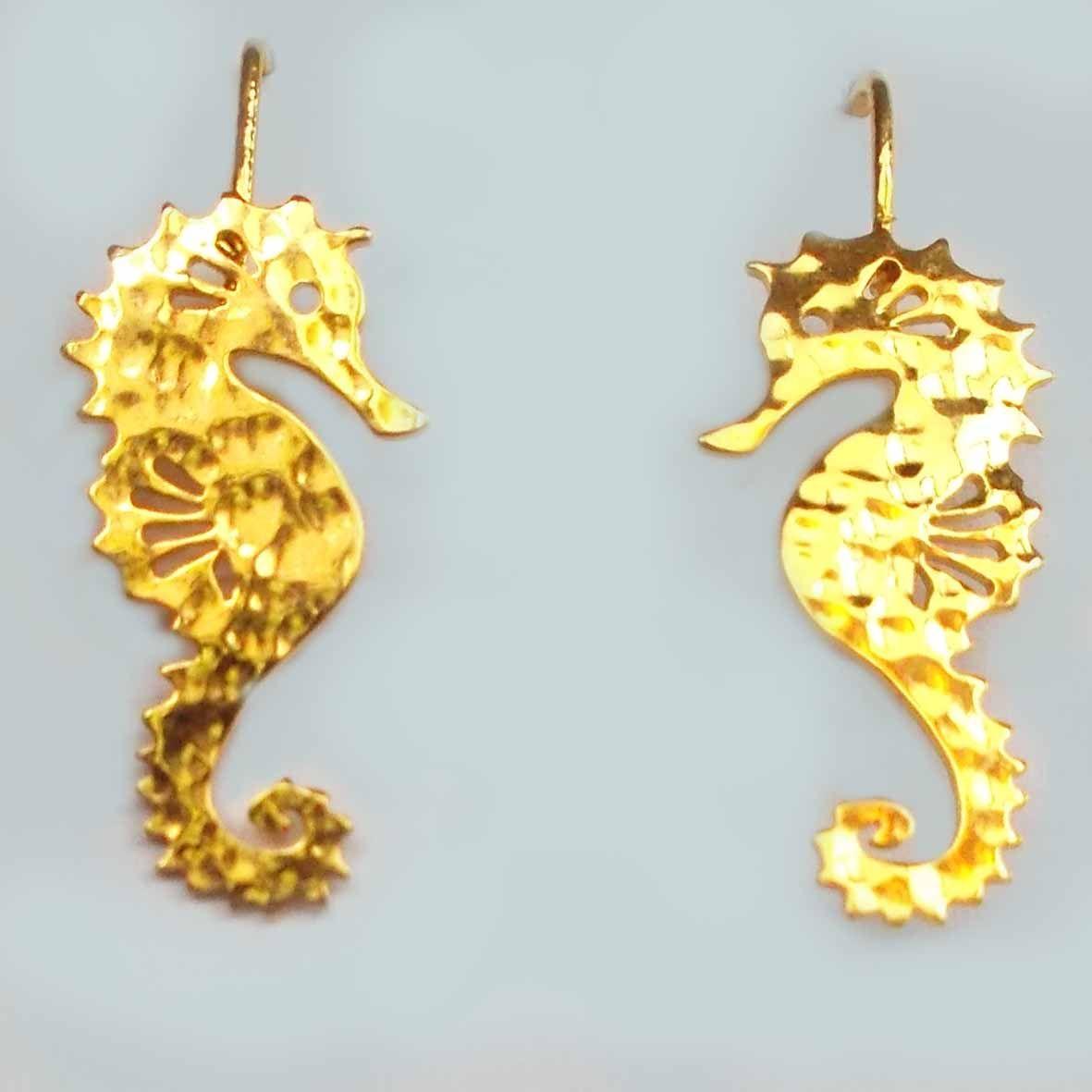 Aretes caballito de Mar Bronce-Baño en oro