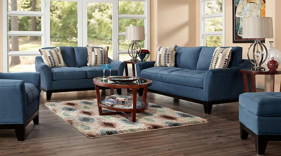 Cindy Crawford Home Newport Cove Indigo 7 Pc Living Room From Furniture