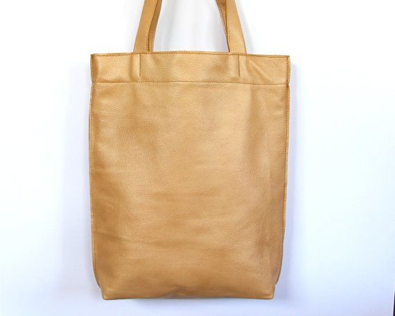 Golden leather tote bag with lining and by HandMadeByKonovalovy, $125.00