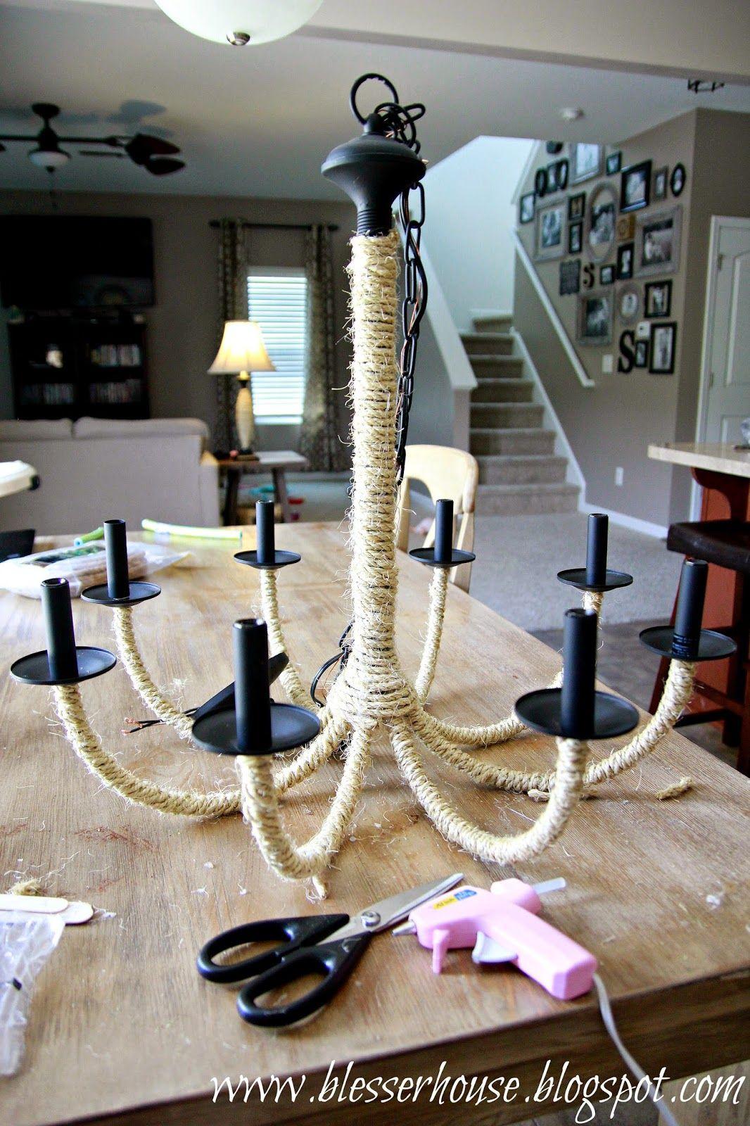Diy Restoration Hardware Knock Off Rope Chandelier Bless Er House