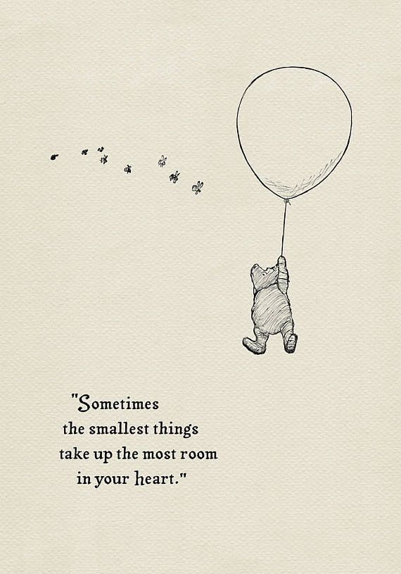 Sometimes the smallest things take up the most room in your heart- Pooh Quotes classic vintage style poster print #43 - #classic #heart #Pooh #poster #print #quotes #room #smallest #style #vintage
