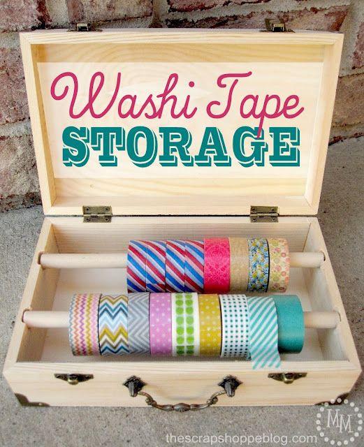 Een leuke manier op al je rolletjes washi tape bijeen te houden is dit kistje.
