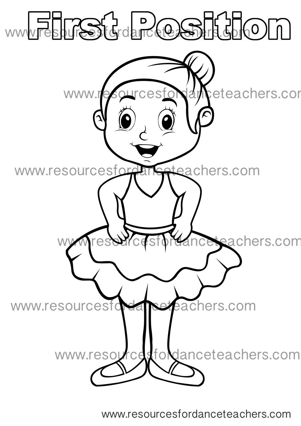 Preschool Dance Colouring Page First Position Dance Coloring