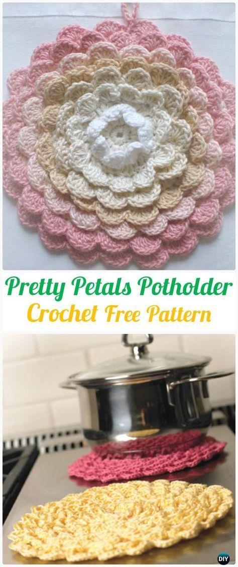 Crochet Pretty Petals Potholder Free Pattern+Video - Crochet Pot ...