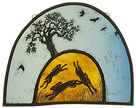 Tamsin Abbott Three Hares And An Apple Tree Stained Glass
