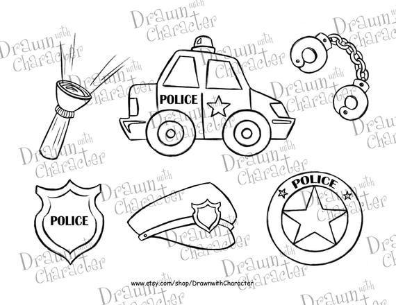 Police Car Set /Digital Stamp Art/ KopyKake Image- DS17