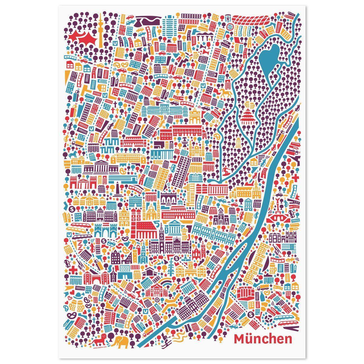Munchen Poster 50x70cm Stadtplan Plakat Kunstdruck Bunt Hochformat Mit Den Sehenswurdigkeiten Marienplatz Frauenkirche Stadtplan Poster Englischer Garten