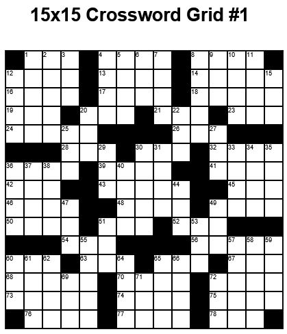 15x15 Medium Crossword Puzzle Grid 1 Puzzle 1 Puzzle Crossword