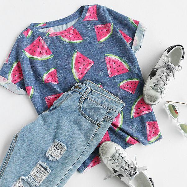 d2459a246be Blue Watermelon Print Short Sleeve T-shirt