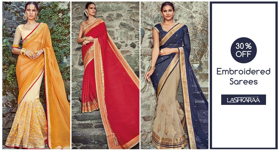 cbec153ba1d51 30% OFF - Embroidered Saree When you are clueless about what to wear! Choose
