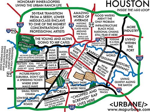 An Outsiders Tag Map of Houstons Inner Loop Tejas Pinterest