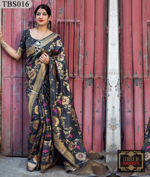 572a5e8f18 Combination of Grey and Golden Color, Banarasi Silk Saree with Matching  Blouse.
