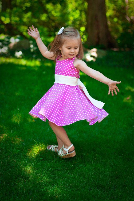 """Vilma vil have kjoler """"der svinger ud"""" når hun danser. Girls dress pattern for knits toddlers and girls halter twirl dress sewing pattern sizes 2 3 4 5 6 7 8 PDF Instant Download"""