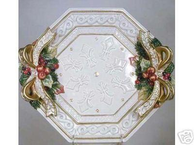 Fitz Amp Floyd Beautiful Classic Snowy Woods Large Octagonal Platter Retired Christmas