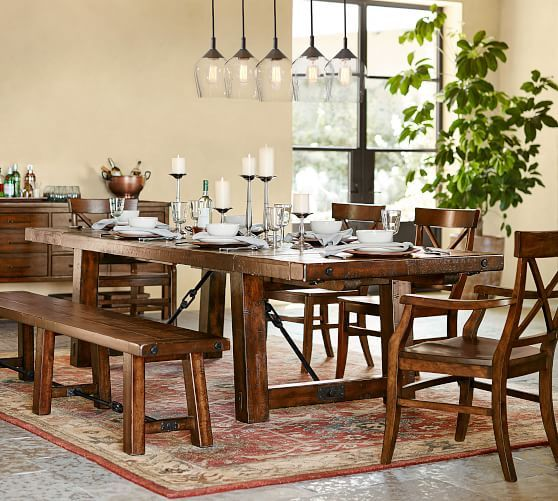 Benchwright Extending Dining Table 86 X 42 Rustic Mahogany Stain
