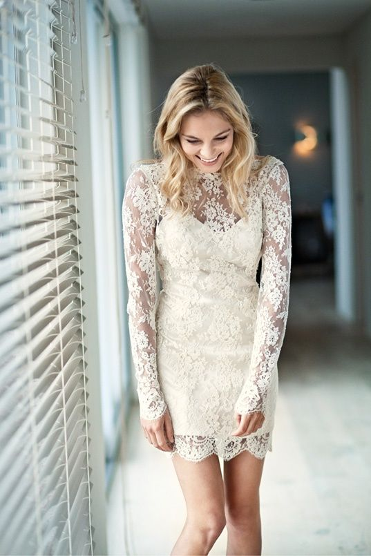 Short Lace Dress With Long Sleeves Mini Wedding Dresses Rehearsal Dinner Dresses Wedding Dresses