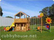 Cubbyhouse kits : Diy Handyman Cubby house : Slightly Elevated Cubbies : Alpine Swing Gym #indoorplayhousekits