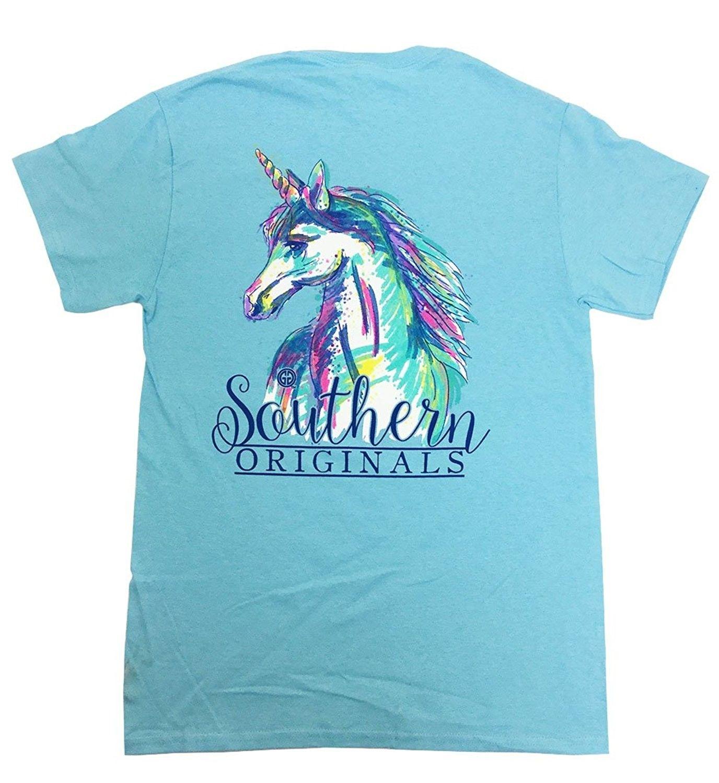 Girlie Girls Watercolor Unicorn Short Sleeve T Shirt Sky Blue