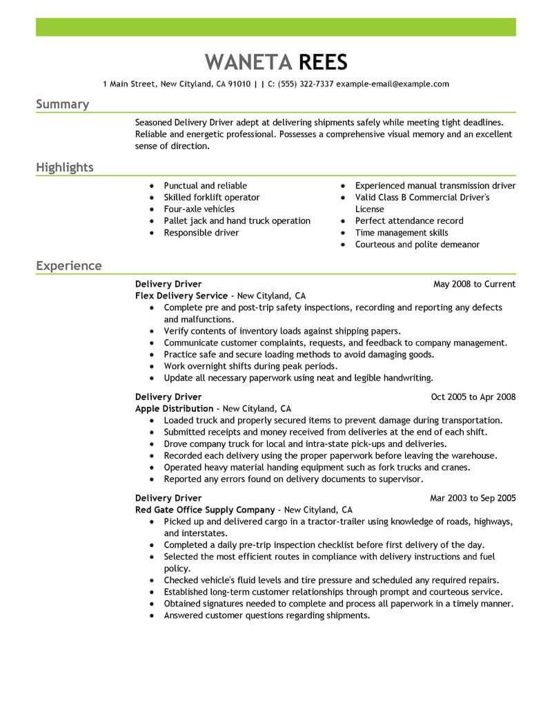 30 Truck Driver Resume Pdf Job resume examples, Driver