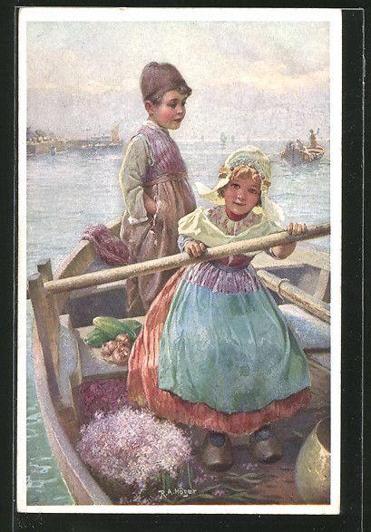 Künstler-AK Rud.A. Höger: Kinder fahren mit einem Ruderboot vor dem Hafen herum…