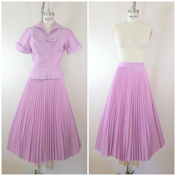 Vintage 1940s Skirt And Blouse Set Purple Cotton Pleated Skirt