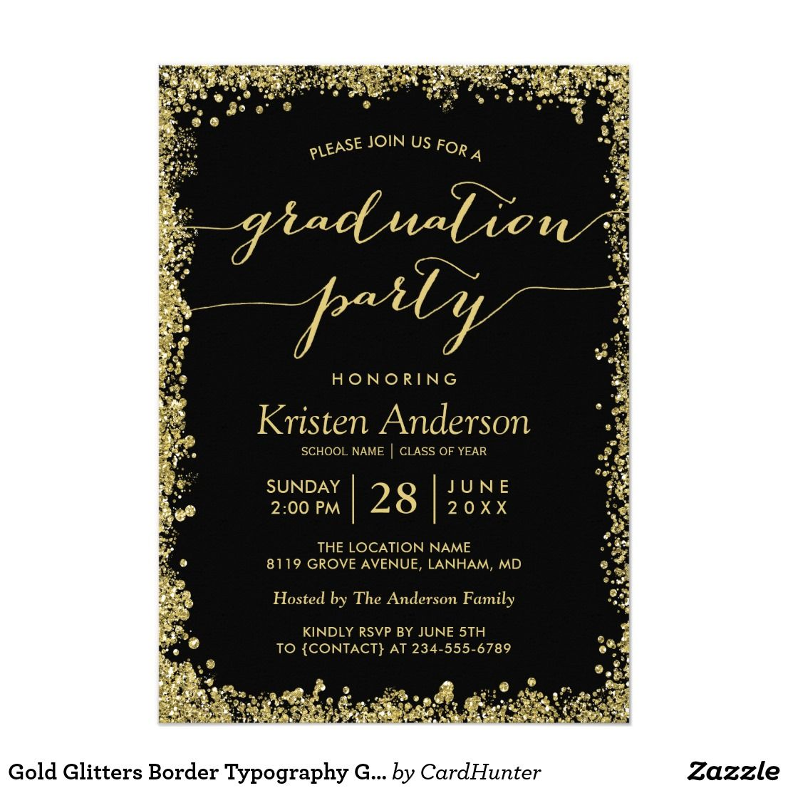 Graduation Party Invitation Card Gold Glitters Border Typography Graduation Party Invitations College Graduation Party Invitations Graduation Party