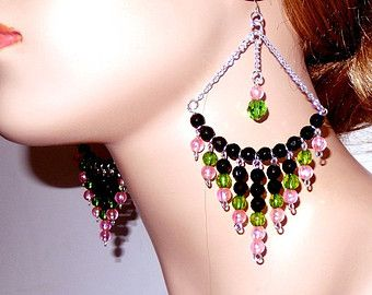 Pink black green large dangle chandelier earrings with chain pink black green large dangle chandelier earrings with chain lightweight acrylic earrings diva mozeypictures Choice Image