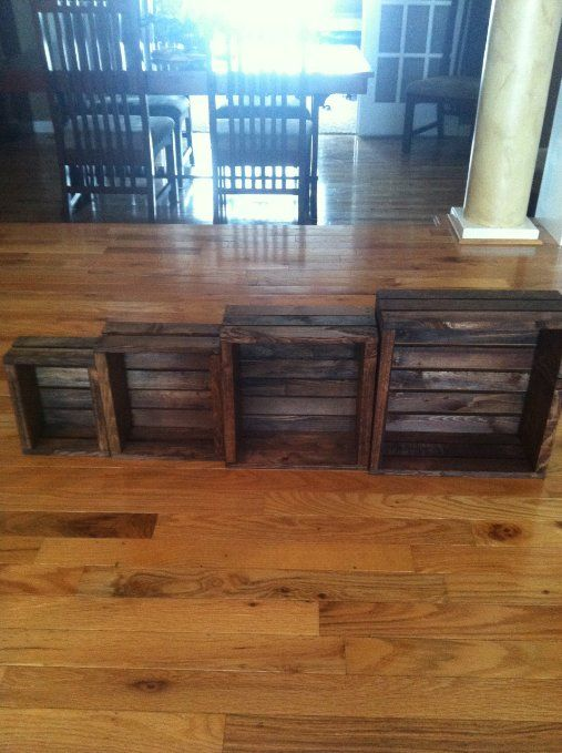 Set of 4 Vintage Stained Rustic Wood Crate
