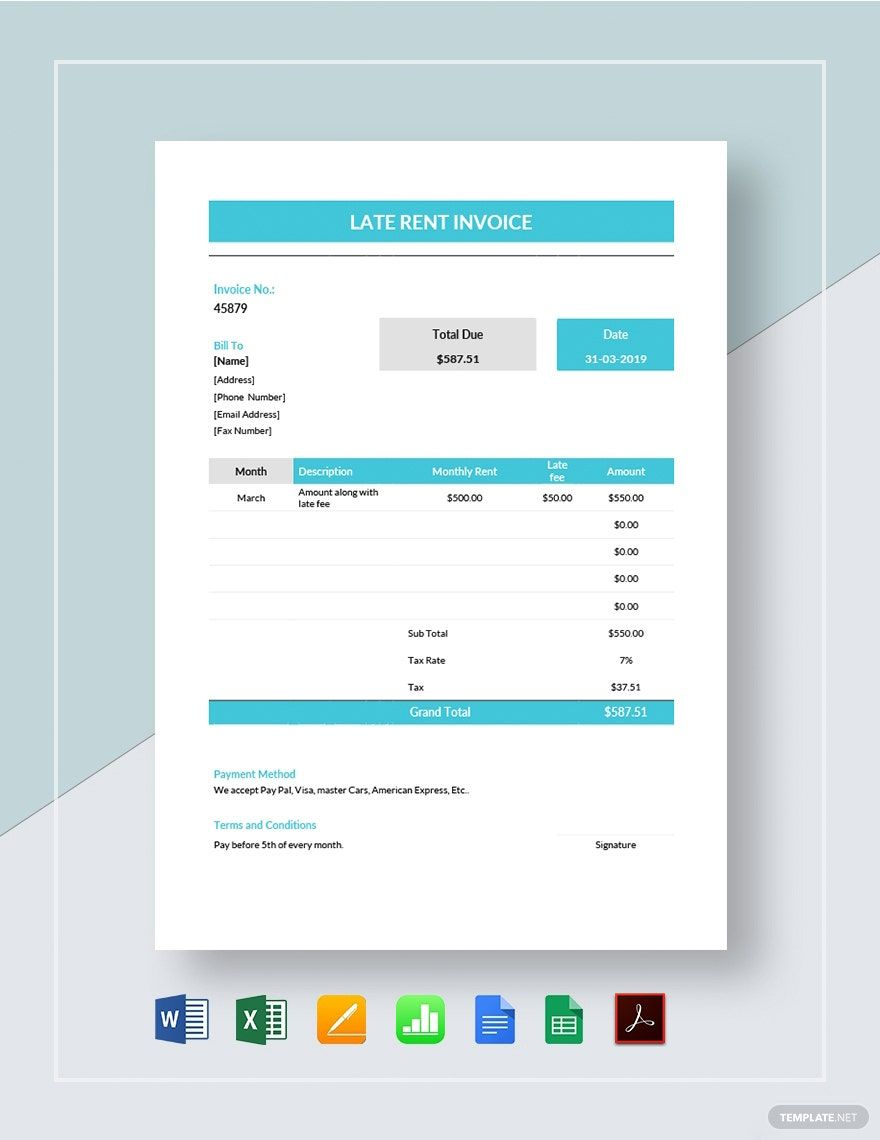 Late Rent Invoice Template Free Pdf Word Excel Apple Pages Google Docs Google Sheets Apple Numbers Invoice Template Template Printable Templates