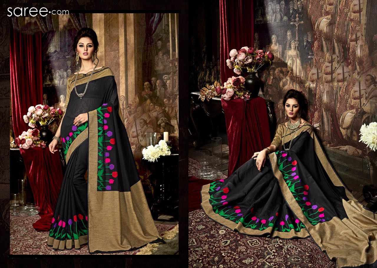 BLACK AND BEIGE ART SILK SAREE WITH WEAVING WORK