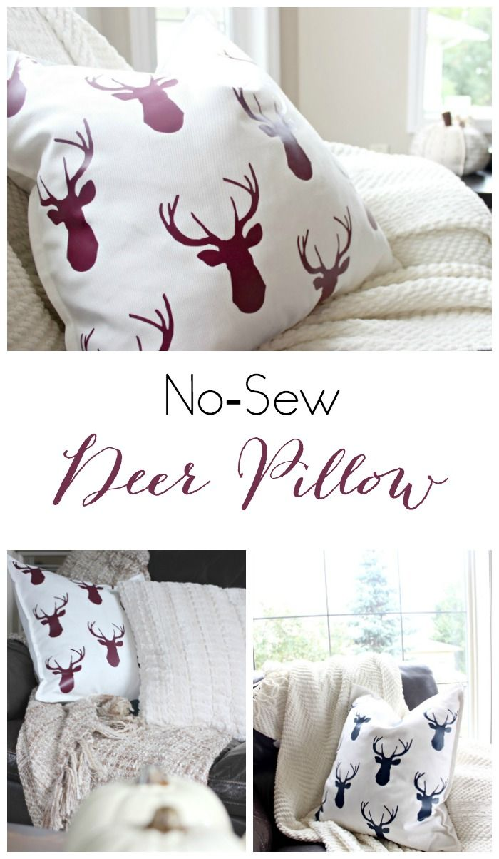 This no-sew fall pillow is the perfect DIY decor for any home! Love the idea of keeping these deer pillows out all winter long too!