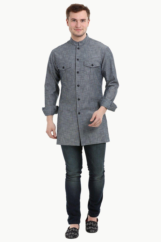 bf02b9cac Shop Mens Nehru Collar Short Denim Kurta - Zobello