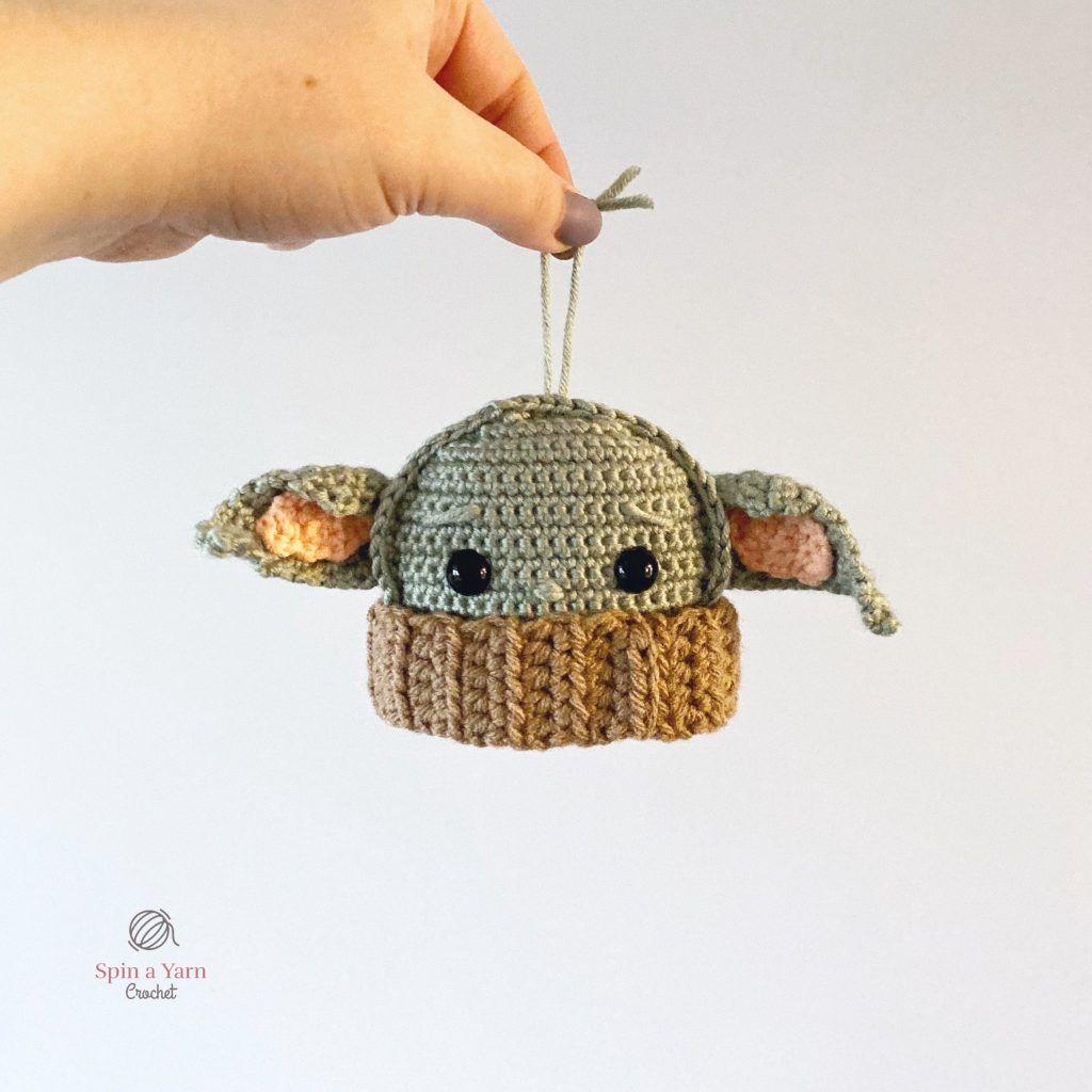 Baby Yoda Ornament Free Crochet Pattern Spin A Yarn Crochet Crochet Ornament Patterns Star Wars Crochet Crochet Patterns