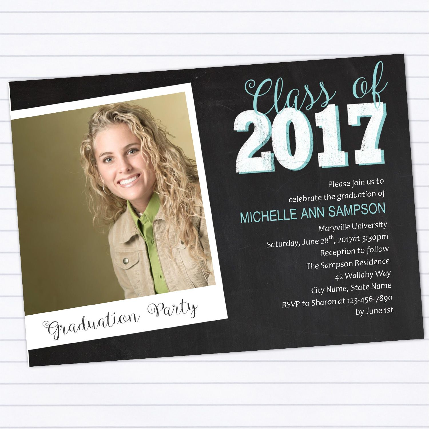 Modern Chalkboard Graduation Party Invitation Template | Party ...