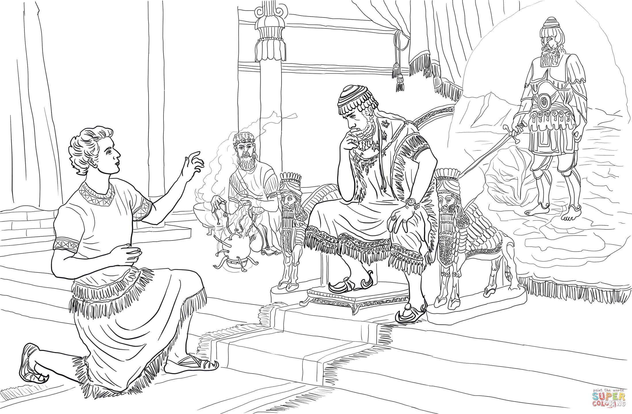 Daniel Interprets Nebuchadnezzar S Dream Coloring Page