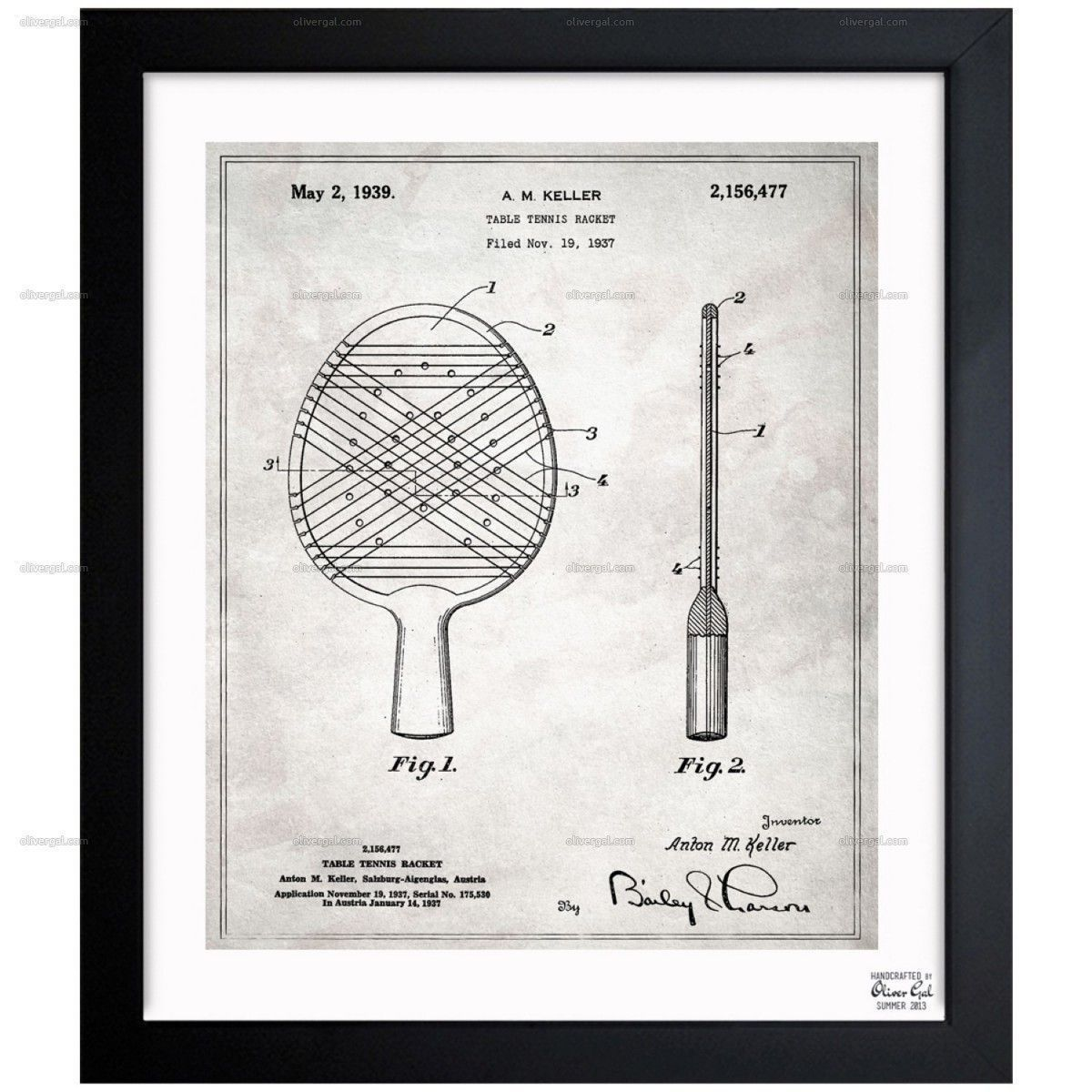 Table Tennis Racket 1939 Exclusive Blueprints Inspired By Real Vintage Patent Drawings And Illustrations H Patent Art Prints Table Tennis Racket Table Tennis