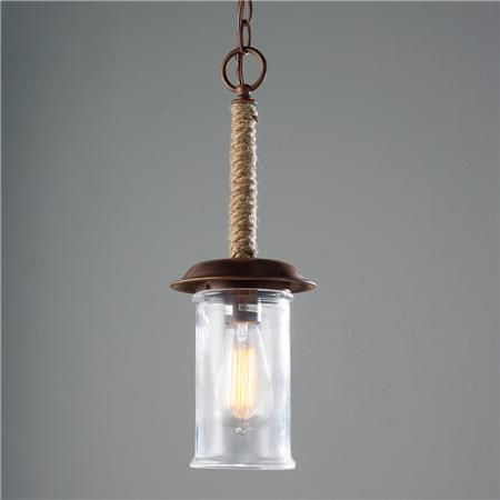 Rope And Clear Cylinder Glass Pendant Light
