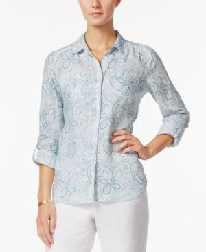 Charter Club Linen Paisley-Print Shirt, Only at Macy's - Blue