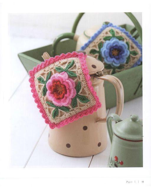 PATRONES GRATIS DE CROCHET: AGARRADERA con flor a crochet... patrón ...