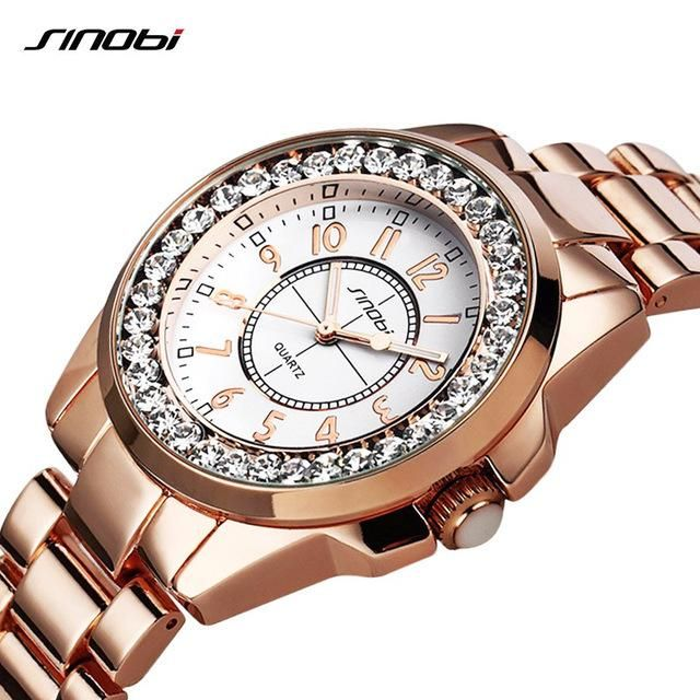 e5197a98546 SINOBI Women Quartz Watch Luxury Crystal Dial Round Watches Ladies Dress  Hours Mixmatch Business Wrist Watches Relogio Femininos