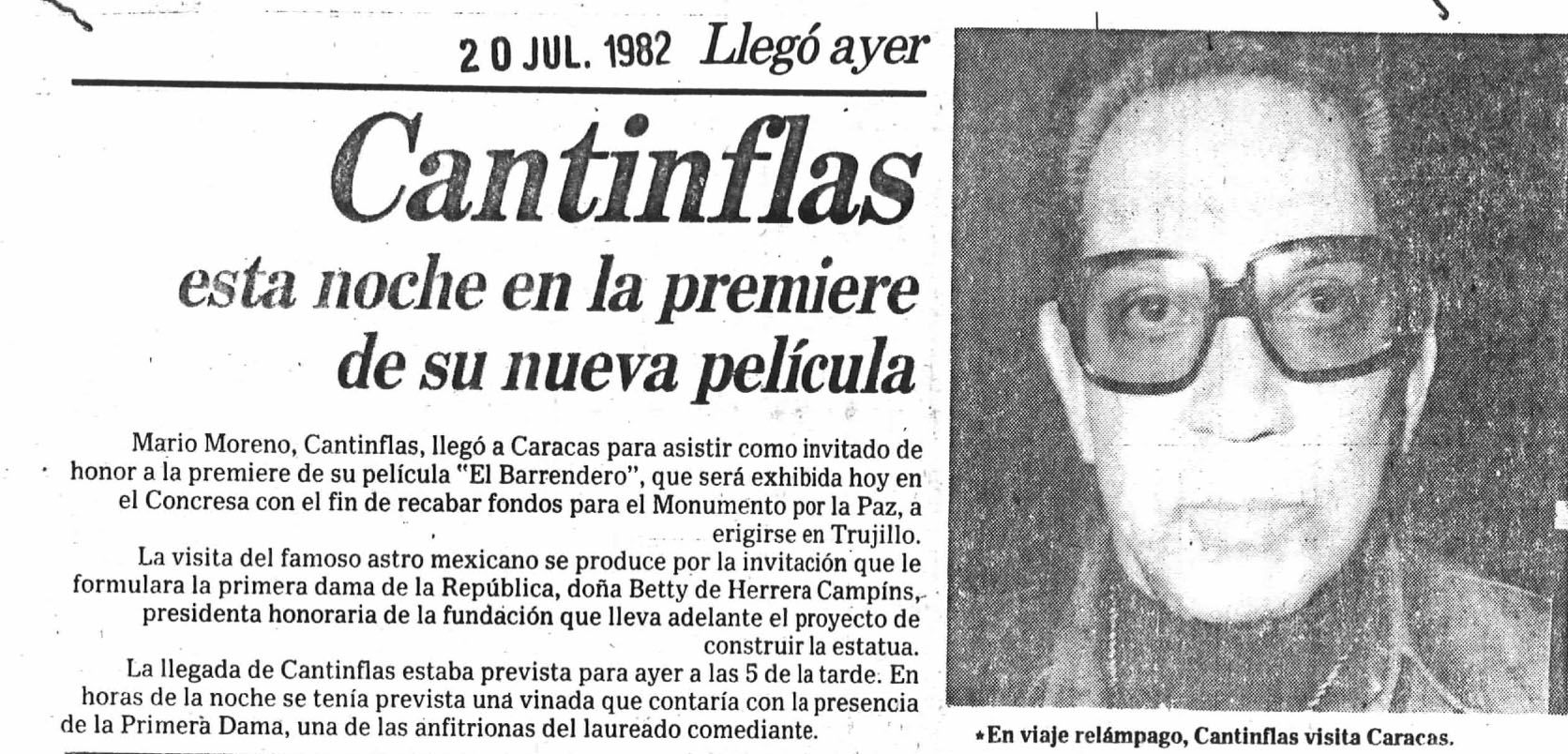 """Mario Moreno """"Cantinflas"""" en la premiere de la película """"El Barrendero"""". Publicado el 20 de julio de 1982."""