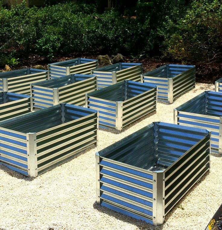 Corrugated Garden Beds Assembled And Ready For Soil And Plants