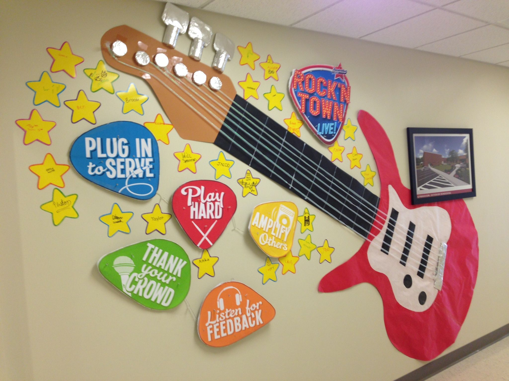 this fun guitar wall is sure to have the students at john. Black Bedroom Furniture Sets. Home Design Ideas