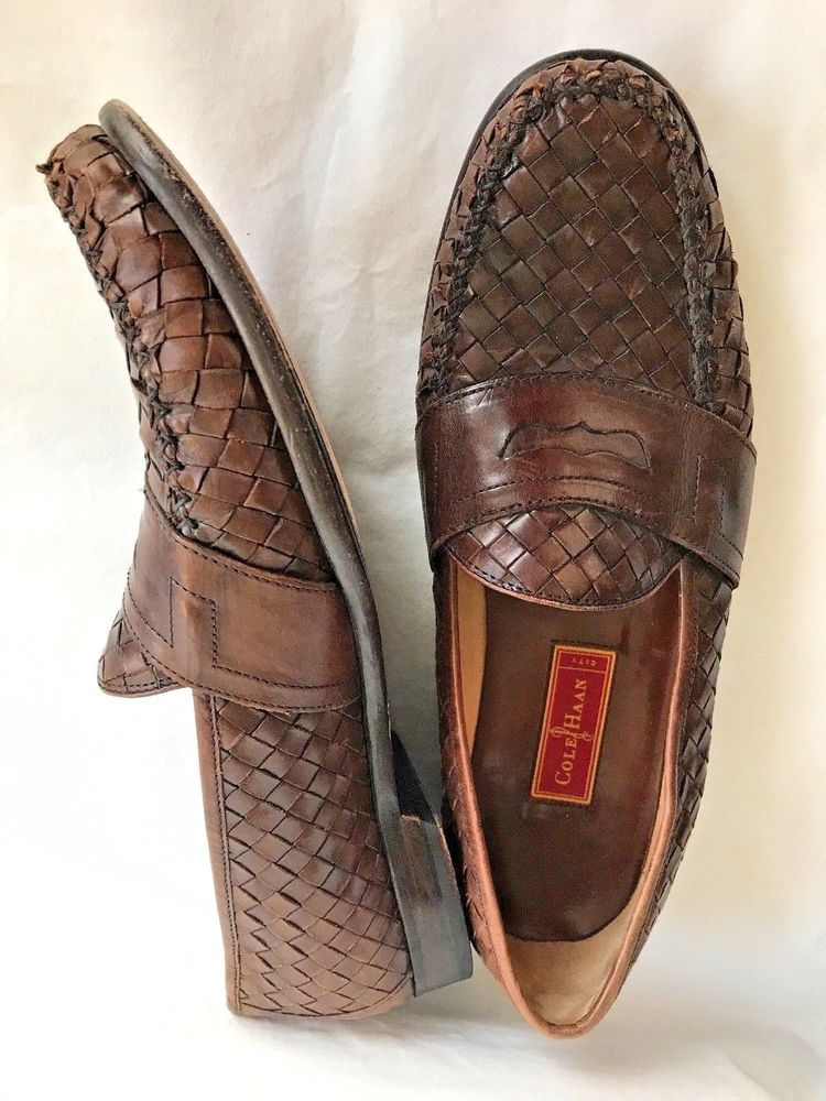694be73985f Mens 14 M Cole Haan Penny Loafer Shoes Brown Weave Leather Mens Slip ...