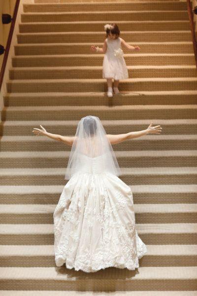bride + flower girl