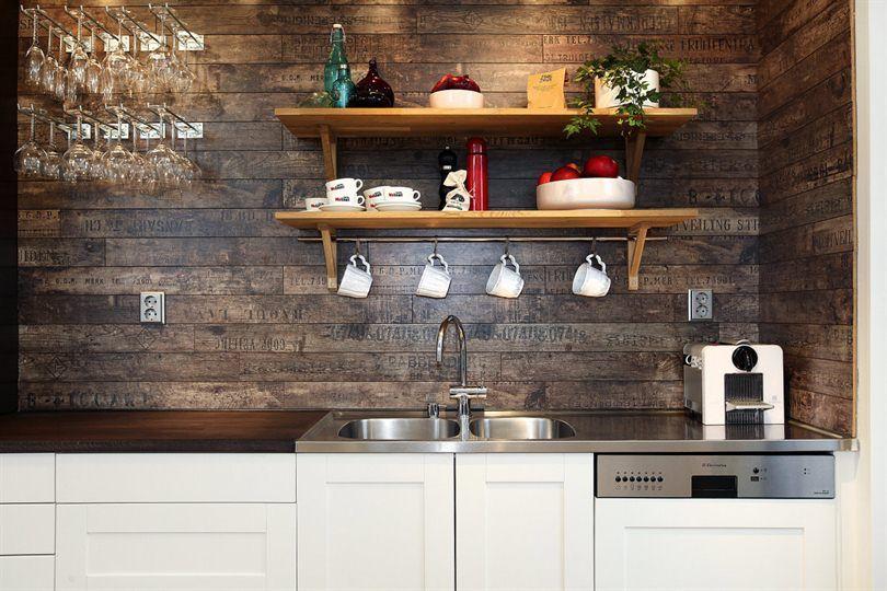 Rough Dark Wooden Plank Backsplash The Latest Kitchen Trend