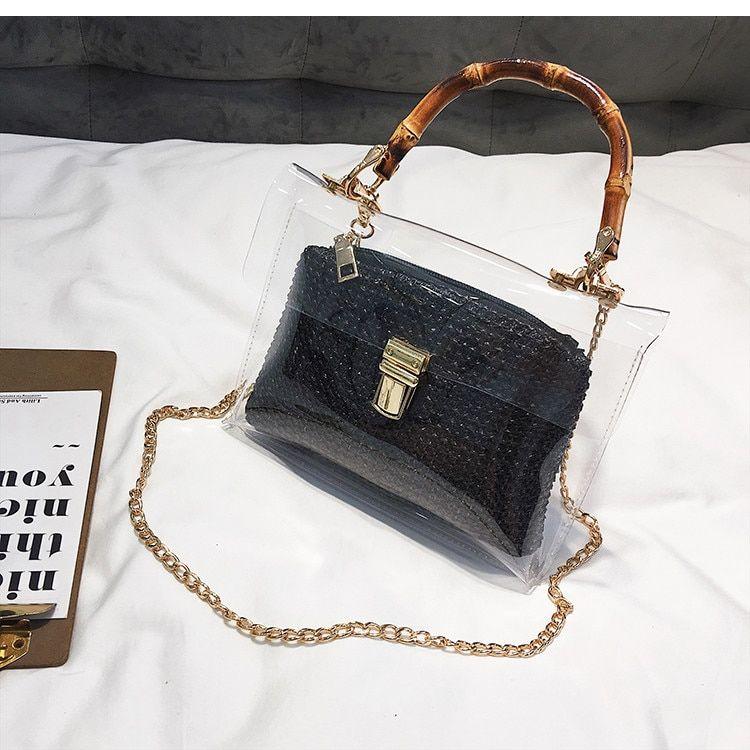 Bamboo Handle Summer Chain Crossbody Bags Ladies Straw Beach Bags – Black, 21cm x 13cm x 7cm